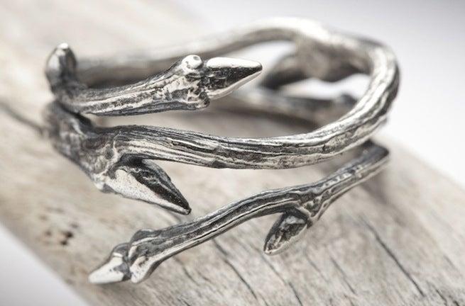 Image of Dark Elvish Twine<br>Silver Twig Ring