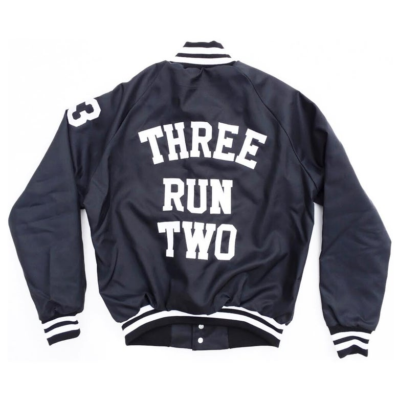 Image of 'Go Team, Made to Order, Unisex Baseball Jacket (Black / White)