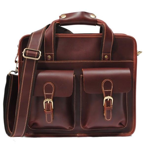 "Image of Handmade Leather Briefcase / Messenger Satchel / 11"" MacBook Air or 12"" Laptop Bag (n07s)"