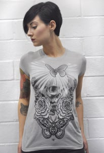 Image of Woman's skull & moth tee *Limited!*