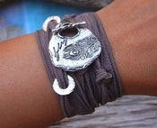 Image of Peacock Feather Jewelry, Feather Jewelry, Feather STERLING Silver Silk Wrap Bracelet Trend