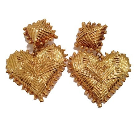 Image of SOLD Christian Lacroix Massive Heart Earrings