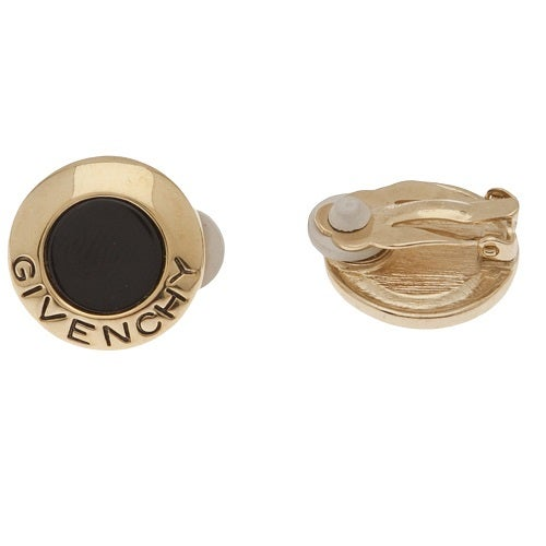 Image of Givenchy Logo Gold Tone & Black Enamel Vintage Earrings