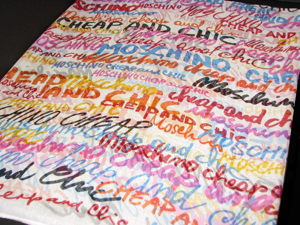 Image of SOLD OUT Moschino Authentic Cheap and Chic Logo Silk Scarf
