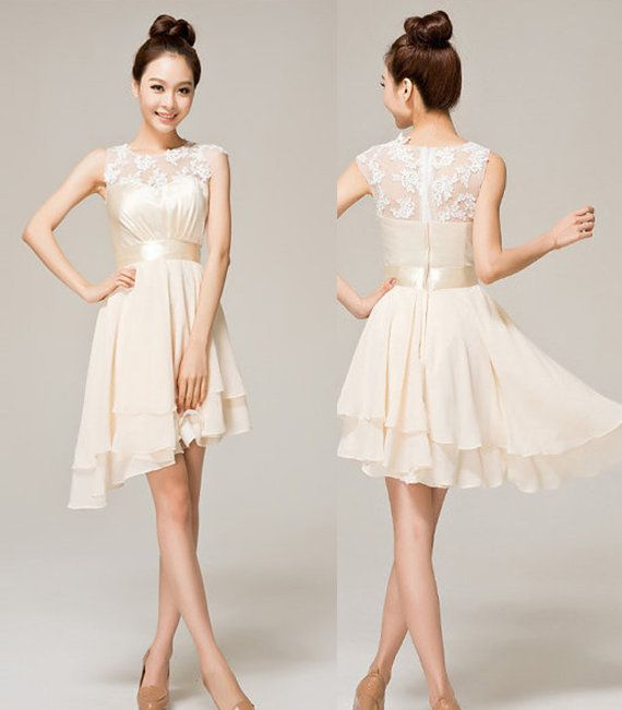 Image of Fashion elegant cute champagne color lace dress for wedding for party for homecoming