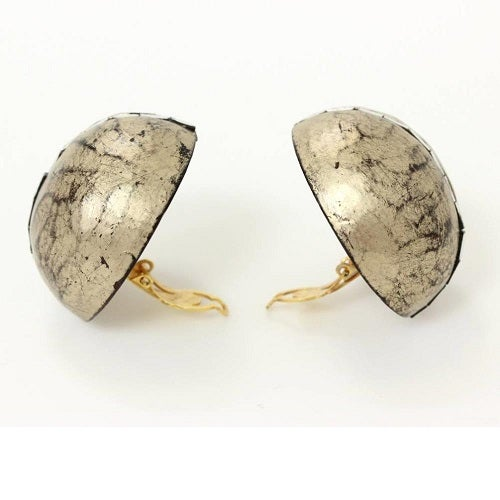 Image of SOLD YSL Yves Saint Laurent MASSIVE Rive Gauche Metallic Jeweled Oversized Clip On Earrings