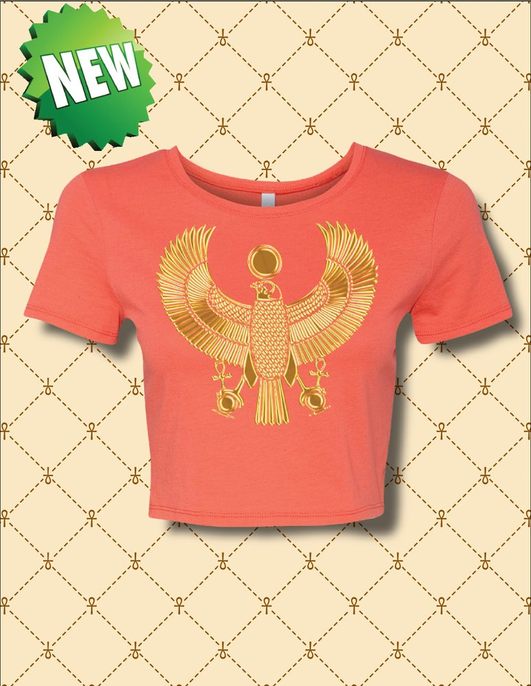 Image of WOMENS GOLD HERU CROPPED TEE