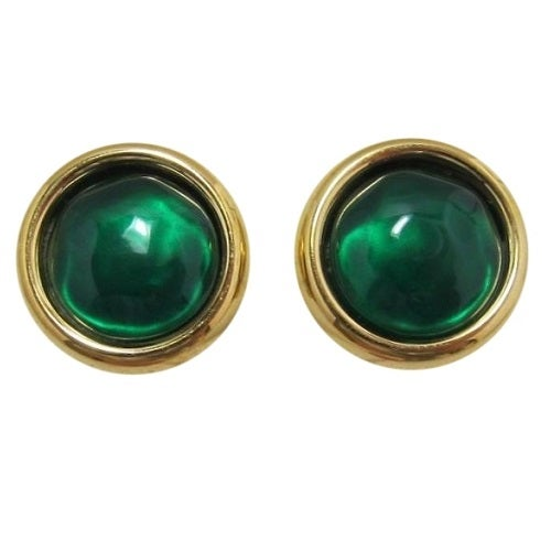 Image of SOLD OUT Oscar De La Renta Emerald Cabochon Medallion Earrings