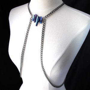 Image of Raw Rainbow Titanium Crystal Point Body Chain Harness, SA495