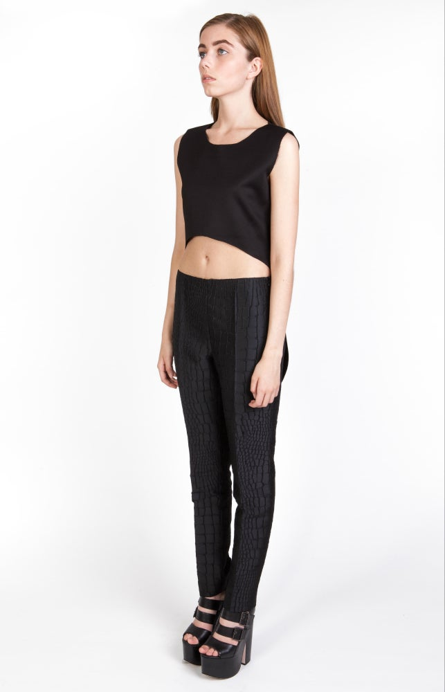 Image of SS Clean Cut Crop Top - Black