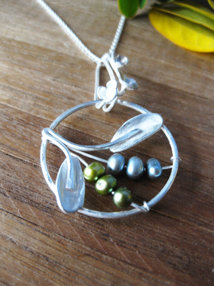Image of New growth specimen pendant: sterling silver with fresh water pearls