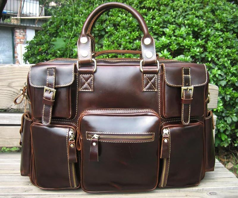 Image of Handmade Superior Leather Business Travel Bag / Tote / Messenger / Duffle Bag / Weekend Bag (n62-8)