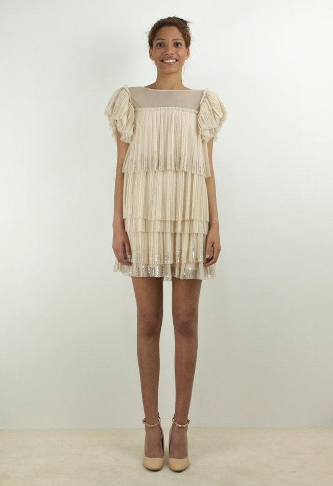 Image of PLEATED TULLE MINI DRESS