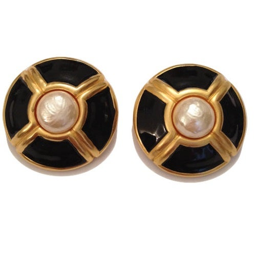 Image of SOLD OUT Karl Lagerfeld Vintage 1980's Faux Mabe Pearl and Black Enamel Earrings