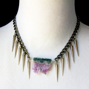 Image of Raw Druzy Amethyst Spike Collar Necklace, SA497