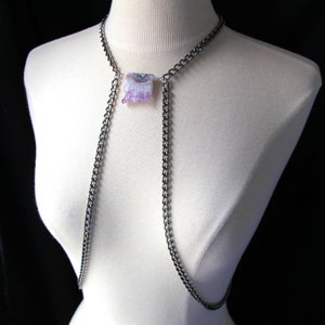 Image of Raw Druzy Amethyst Body Chain Harness, SA500