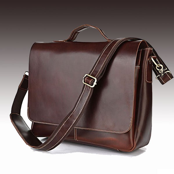 "Image of Handmade Genuine Leather Briefcase / Messenger / 13"" 14"" 15"" Laptop 13"" 15"" MacBook Bag (n78)"