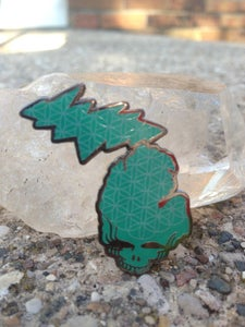 Image of Flower of Life Grateful Michigan Pin (teal)
