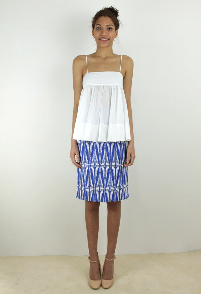 Image of BLUE GEOMETRIC SKIRT