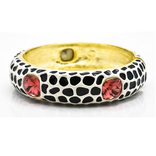 Image of SOLD OUT KENNETH JAY LANE KJL BLACK & WHITE ANIMAL PRINT ENAMEL & PINK CRYSTAL BRACELET