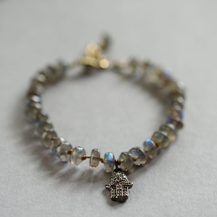 Image of Labradorite hamsa bracelet