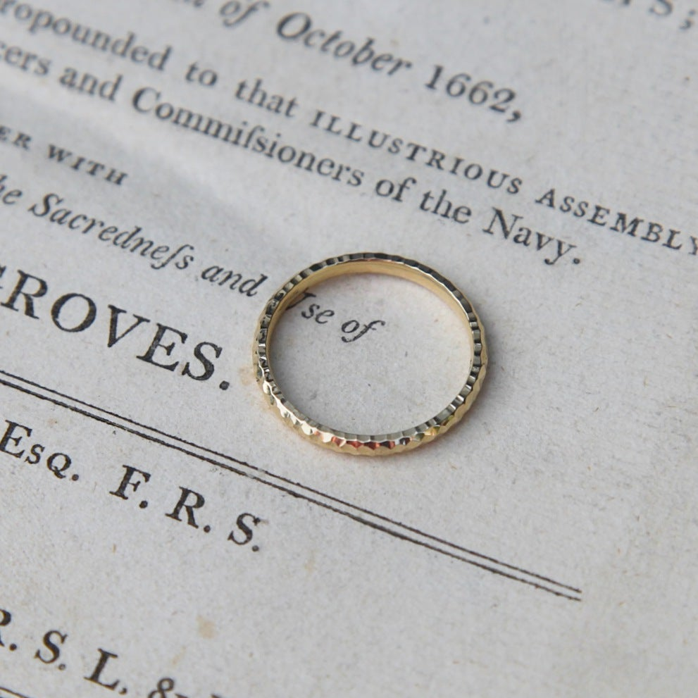 Image of 9ct gold 2mm faceted ring