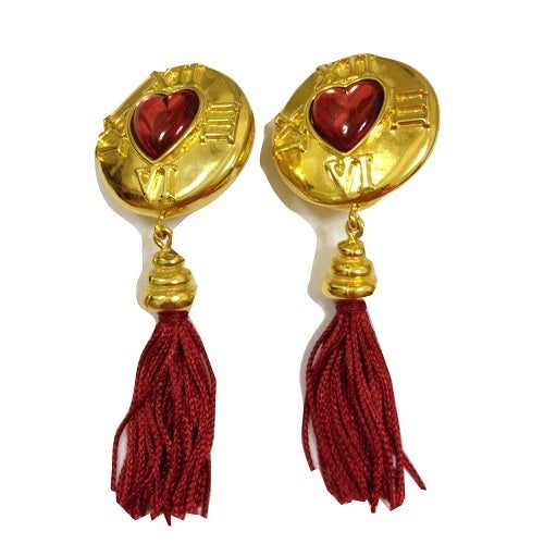 Image of SOLD Escada Massive Shoulder Duster Heart Tassle Earrings
