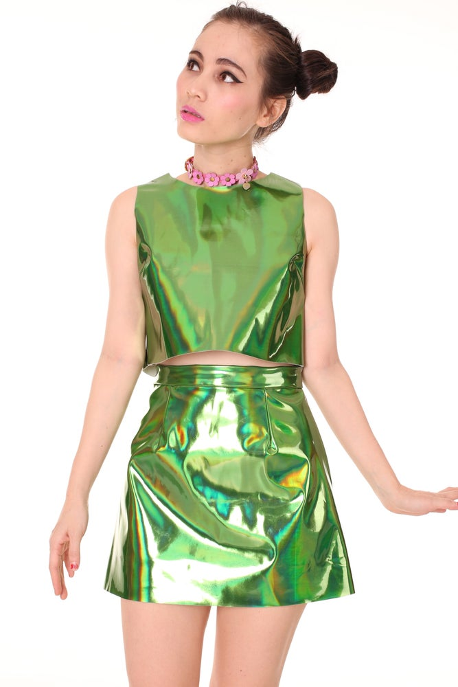 Image of Made To Order - Green Holographic Motel Set