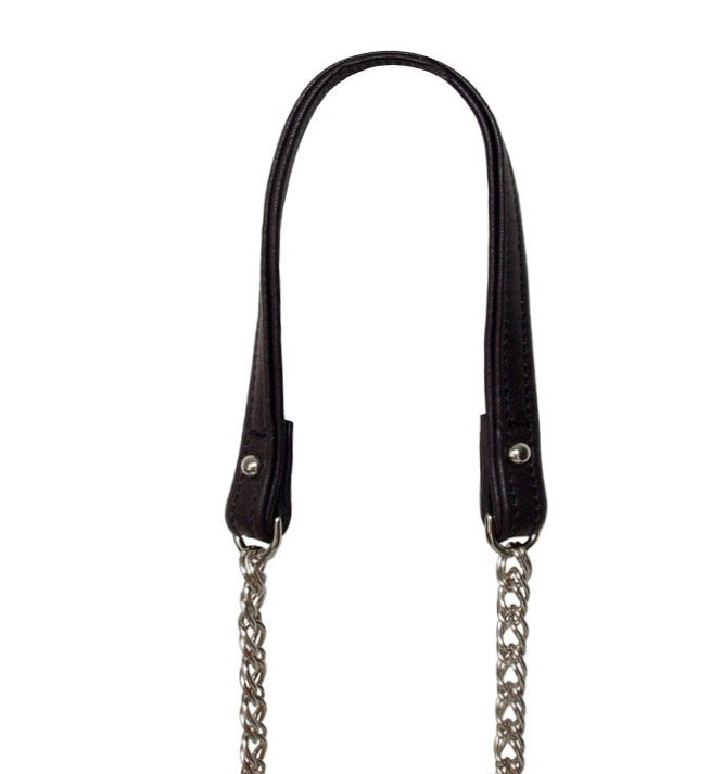 Image of NICKEL Chain Strap with Leather Petite Handle -Double Curb Chain- Choose Length & Attachable Hooks