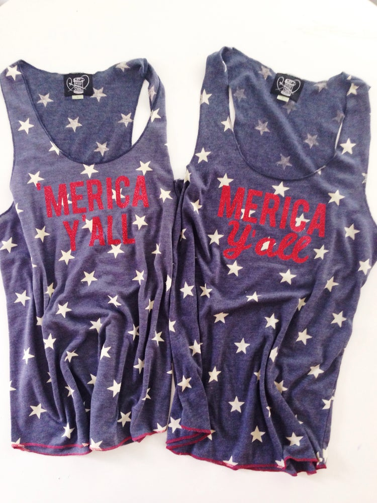 Image of 'Merica Y'all Tank Top CURSIVE