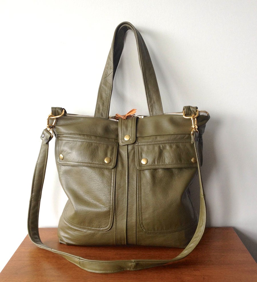 Image of Repurposed 70s Trench Leather Satchel Bag {Olive}