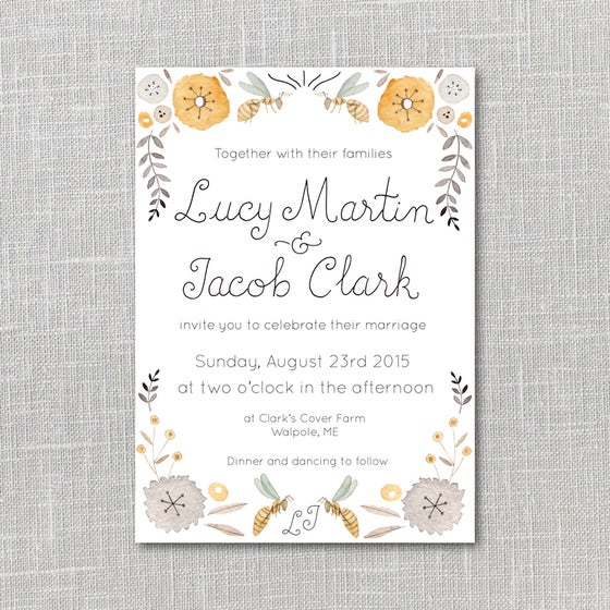Image of Summer Bees Printable Wedding Invitation Suite with custom hand lettered names