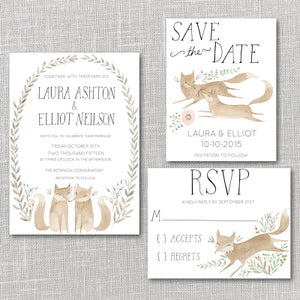 Image of Foxes Printable Wedding Invitation Suite with custom hand lettered names