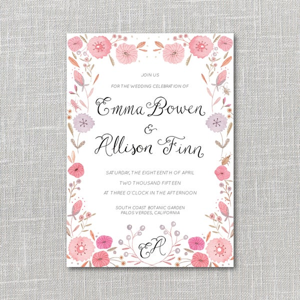 Image of Bright Flowers Printable Wedding Invitation Suite with custom hand lettered names