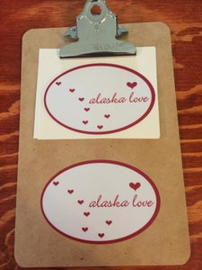 Image of Alaska Love Sticker- Oval White/Red