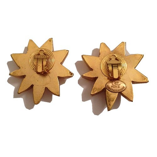Image of SOLD Christian LaCroix Gigantic Rhinestone Star Clip On Earrings