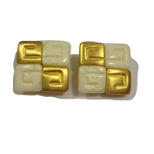 Image of SOLD OUT Vintage Givenchy Paris Rare White Marble and Brushed Goldtone Square Earrings