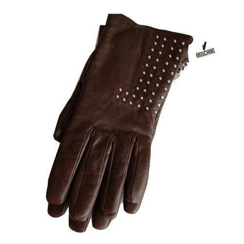 Image of SOLD OUT Moschino Leather Brown Studded Gloves With Cashmere Lining