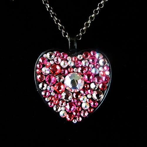 Image of Pink Rocks Black Heart Pendant