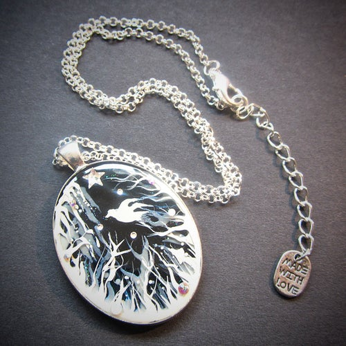 Image of Forest Macabre White Oval Pendant