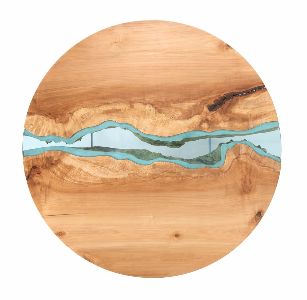 Wooden Table Top View ~ Round river coffee table greg klassen