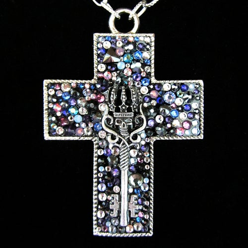 Image of Midnight Rocks Silver Cross Pendant