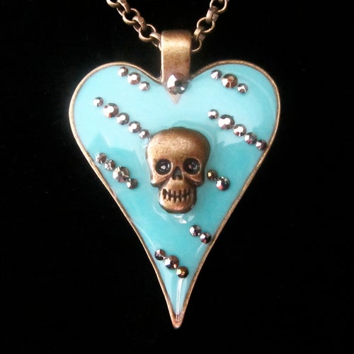 Image of Aqua Abstract Skullie Heart Pendant