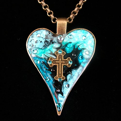 Image of Gothic Heart Turquoise Patch Pendant
