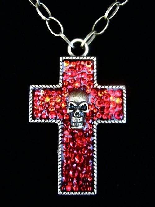 Image of Ruby Rocks Bronze Cross Pendant