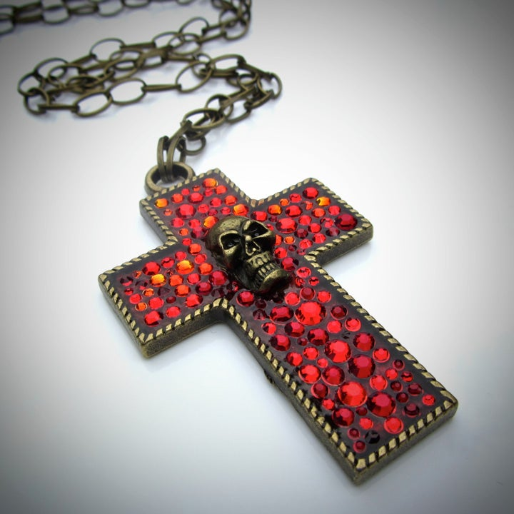 Image of Ruby Rocks Bronze Cross Pendant