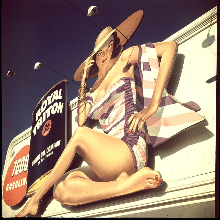Image of Royal Triton Billboard; 1940's (rare color slide from that era)