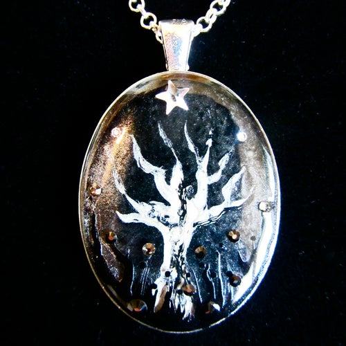 Image of Winter Sparkles Creepy Tree Silver Pendant