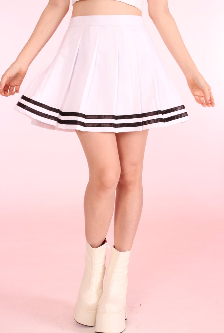 Image of PRE ORDER - White Cheer Skirt with Black Stripes