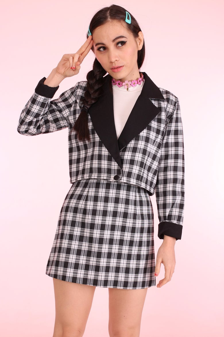 Image of *Free Express Delivery* Dionne Black Checkered Blazer Set
